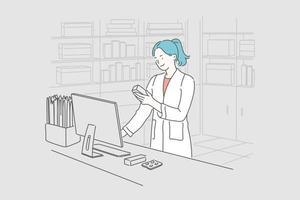 farmácia, medicina, conceito de saúde vetor