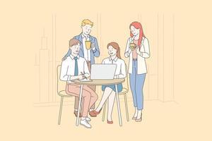 trabalho em equipe, coworking, conceito de cooperação. vetor