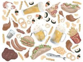 conjunto de fast food ou junk food vetor