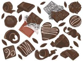 raspas e pedaços de chocolate vetor