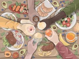 alimentos e bebidas, coquetéis, conjunto de fastfood vetor