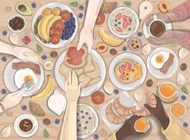 pequeno-almoço, jantar, hotel, conjunto de comida vetor