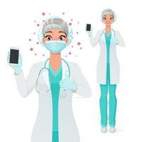 enfermeira com máscara de rede capilar mostrando a tela do smartphone com o polegar para cima ilustração vetorial vetor