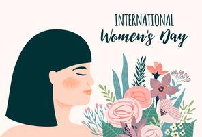 Dia Internacional da Mulher. Modelo de vetor com mulher asiática e flores