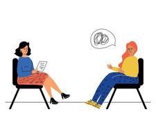 uma mulher em uma consulta com um psicólogo, um psicoterapeuta. o conceito de saúde mental. resolver problemas psicológicos. o psicólogo escuta o paciente vetor