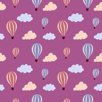 padrão sem emenda com balão de ar quente e nuvens coloridas, sobre um fundo a voar. textura infinita de vetor para design de viagens.