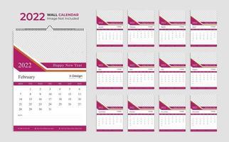 Modelo de calendário de parede 2022, calendário de programação, planejador de negócios anual, cronograma, calendário de eventos, calendário de mesa vetor