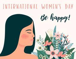 Dia Internacional da Mulher. Modelo de vetor com mulher e flores metis
