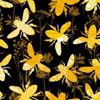 Sem costura padrão geométrico com abelha. vetor