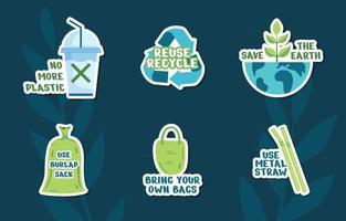 nenhum conjunto de adesivos de campanha de plástico vetor