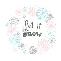 Projeto de rotulação do inverno no fundo da neve com quadro tirado mão do floco de neve.