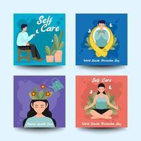 conjunto de cartão do dia mundial da prevenção do suicídio vetor