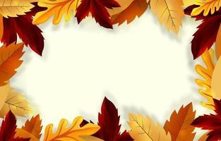 folhagem de outono moldura floral vetor