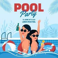 festa na piscina no verão vetor