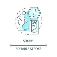 ícone do conceito de obesidade. muita gordura no corpo humano. questões de excesso de peso. vaso sanguíneo apertando ilustração de linha fina de ideia abstrata. desenho de cor de contorno isolado vetor. curso editável vetor