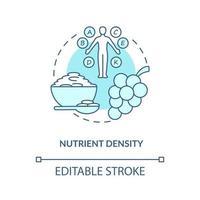 ícone do conceito de densidade de nutrientes. quantidade de nutrientes nos alimentos. qualidade dos ingredientes. ilustração de linha fina de ideia abstrata de alimentação saudável. desenho de cor de contorno isolado vetor. curso editável vetor