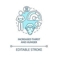 ícone do conceito de aumento de sede e fome. com vontade de comer. necessidade de comida e água. receber refeição e beber ilustração de linha fina de ideia abstrata. desenho de cor de contorno isolado vetor. curso editável vetor
