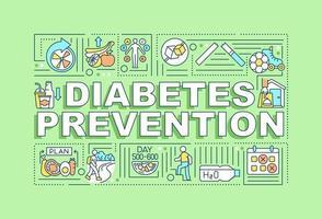 bandeira de conceitos de palavra de prevenção de diabetes. ajuda médica. infográficos com ícones lineares sobre fundo verde. tipografia criativa isolada. ilustração colorida do contorno do vetor com texto