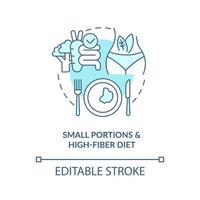 pequenas porções e ícone do conceito de dieta rica em fibras. comer em pequenas quantidades. dieta para ilustração de linha fina de ideia abstrata de diabetes. desenho de cor de contorno isolado vetor. curso editável vetor