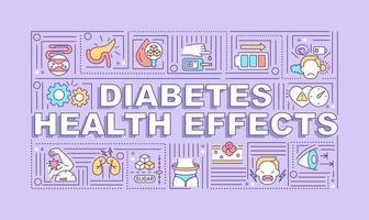 diabetes saúde efeitos palavra conceitos banner. sintomas de doenças. infográficos com ícones lineares em fundo roxo. tipografia criativa isolada. ilustração colorida do contorno do vetor com texto