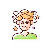 tontura e confusão ícone de cor rgb. homem com dor de cabeça, perdendo a consciência. pessoa com sintoma de exaustão por calor. ilustração isolada do vetor. desenho de linha preenchido simples com raios de sol vetor