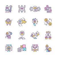 conjunto de ícones de cores de rgb de comércio eletrônico. experiência do comprador online. ilustrações isoladas do vetor. atingir territórios ultramarinos. compra e venda de produtos na coleção de desenhos lineares preenchidos simples do mercado vetor