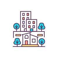 ícone de cor rgb de áreas rurais e urbanas. cidades e subúrbios. ambiente residencial. ilustração isolada do vetor. urbanização. estilo de vida suburbano. aldeias, cidades desenho de linha simples preenchido vetor