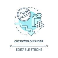 reduzir o ícone do conceito de açúcar. diminuir a quantidade de açúcar durante o dia. problemas de saúde. não comer doces ideia abstrata ilustração de linha fina. desenho de cor de contorno isolado vetor. curso editável vetor