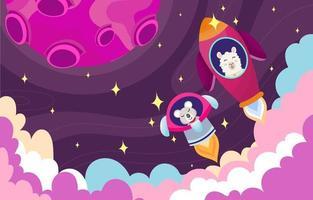 animal foguete no fundo do espaço roxo vetor