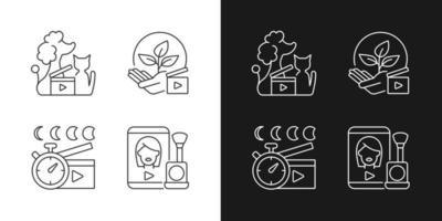 ícones lineares de vídeo online definidos para o modo claro e escuro. filmagens de animais de estimação. consciência ambiental. símbolos personalizáveis de linha fina. ilustrações isoladas de contorno vetorial. curso editável vetor