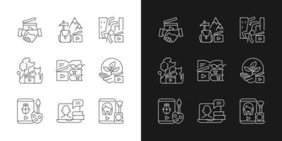 ícones lineares de conteúdo de vídeo definidos para o modo claro e escuro. serviço business to business. conteúdo de entretenimento. símbolos personalizáveis de linha fina. ilustrações isoladas de contorno vetorial. curso editável vetor