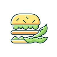 ícone de cor rgb de hambúrguer de soja. ilustração isolada do vetor. rissol feito de vegetais orgânicos. tipo vegetariano de alimentos populares. refeições saudáveis à base de sybeans cozinhando desenho de linha simples preenchido vetor