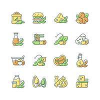 conjunto de ícones de cores de rgb de alimentos de soja. ilustrações isoladas do vetor. preparação de refeições saudáveis. tipos de produtos vegetarianos. snacks à base de plantas. nutrições fonte coleção de desenhos de linhas preenchidas simples vetor