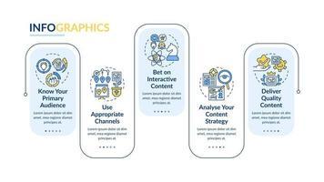 técnicas de conteúdo compartilhável vetor modelo infográfico. análise apresentação esboço de elementos de design. visualização de dados com 5 etapas. gráfico de informações da linha do tempo do processo. layout de fluxo de trabalho com ícones de linha