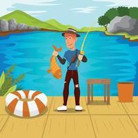 homem pescando no lago vetor