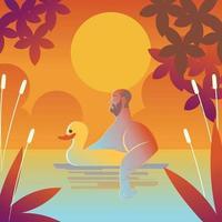 nadando com uma boia de pato vetor
