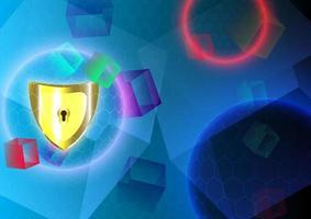 escudo dourado, esfera e cubo. proteger e segurança do conceito seguro. fundo abstrato vetor