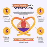 lidar com infográfico de depressão vetor
