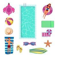 coleção de elementos de natação vetor