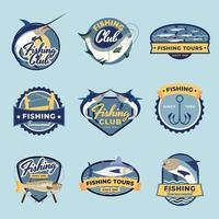 conjunto de emblemas de pesca vetor