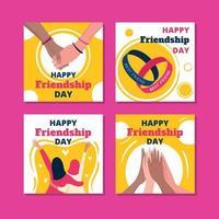 cartão feliz dia da amizade vetor