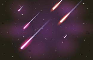 chuva de meteoros à noite vetor