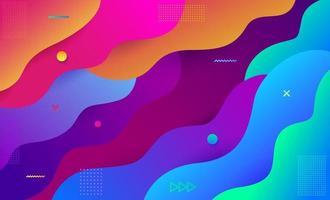formas e ondas coloridas da moda dinâmicas. elemento gráfico moderno abstrato. composição de formas fluidas. fundo geométrico colorido. ilustração vetorial. vetor