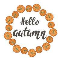 moldura circular de abóboras com letras de mão Olá ilustração vetorial de outono vetor