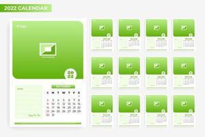 modelo de calendário mensal de negócios com moldura vetor