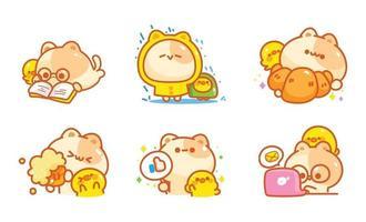 gato dos desenhos animados com diferentes poses e emoções. ilustração dos desenhos animados vetor
