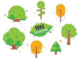 pacote de coleção de árvores de diferentes árvores ilustração vetorial de desenhos animados vetor