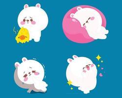 desenho animado gato com diferentes poses ilustração dos desenhos animados vetor