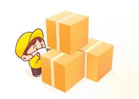 entregador e pilha de caixas de papelão ilustração da arte dos desenhos animados vetor