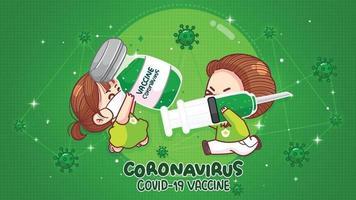 menina e menino segurando vacina contra coronavírus seringa de injeção de coronavírus ilustração da arte dos desenhos animados vetor